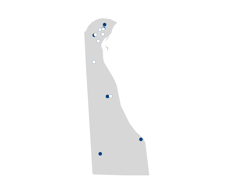 hospital palliative care map for Delaware