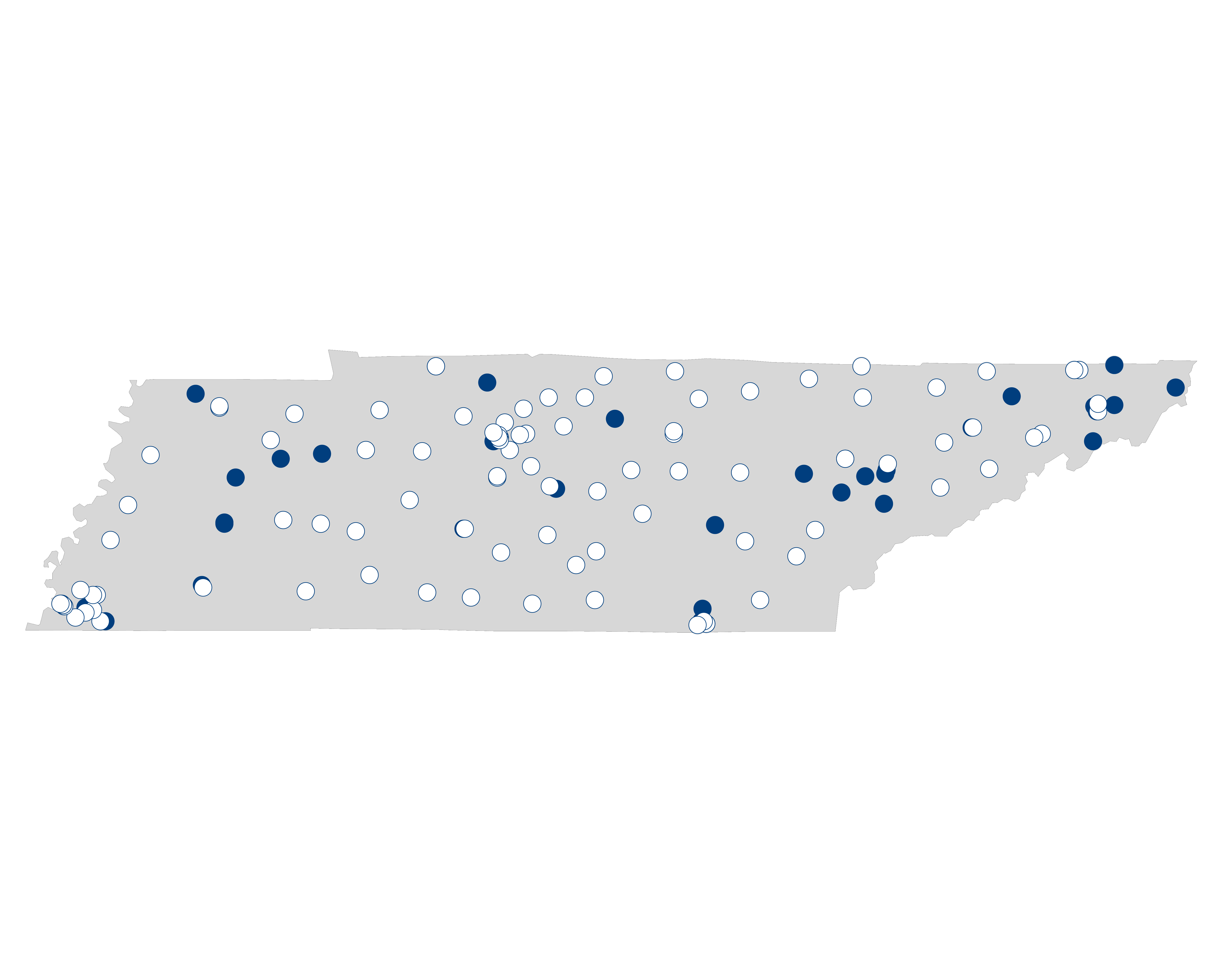 hospital palliative care map for Tennessee