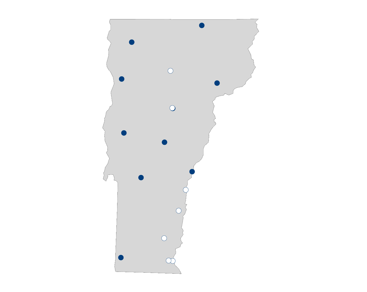 hospital palliative care map for Vermont